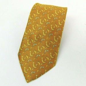 ESCADA Gold Silk Satin Baroque Neck Tie
